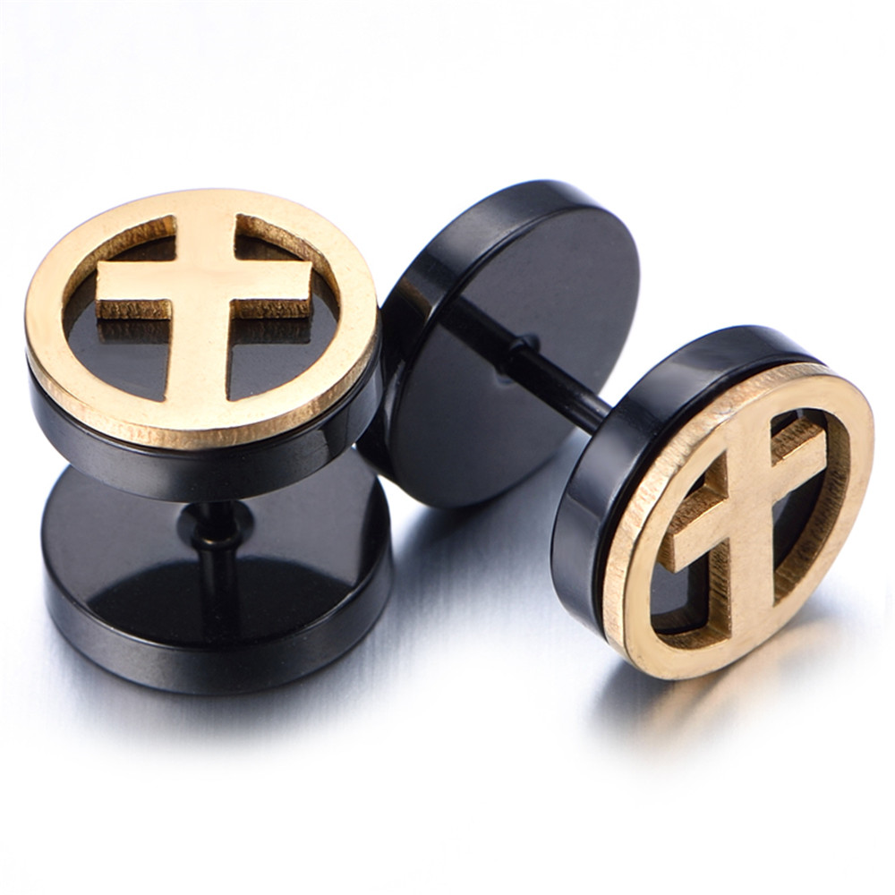 10mm Stainless Steel Stud Hoop Mens Earrings, Black, Gold, Cross KE907