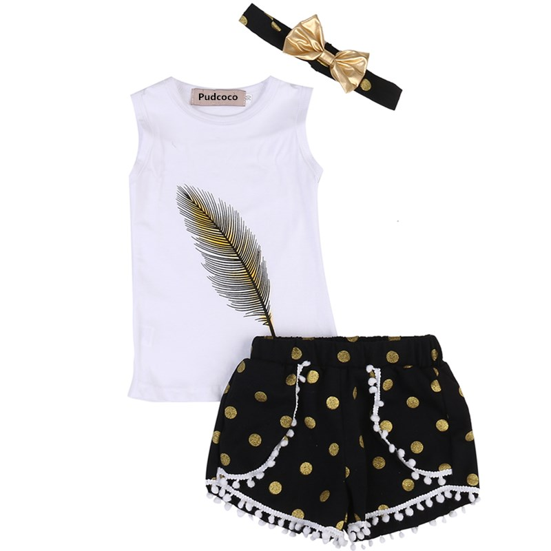 2017 Toddler Kids Baby Girls Clothes Cotton Vest Tops + Dot Tassel Shorts Pants Headband 3Pcs Summer Clothes Outfits Set 2-7T