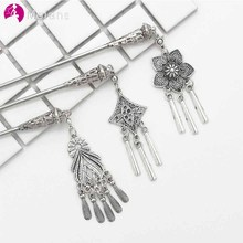 MOLANS Retro Palace Floral Hair Sticks for Classical Women Silver Alloy Multi Pattern Tassel for Bridal Wedding Hair Accessories cheap Headband LA2755 Metal Adult Women Female Lady Bride Hair Sticks Casual Fashion 1 PC OPP Bag Wedding Party Photograph Accept