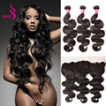 Brazilian Body Wave With Frontal Closure 4 Bundles Ear To Ear Lace Frontal Closure With Bundles Human Hair With Frontal Closure