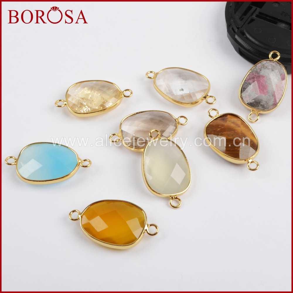 BOROSA 10Pcs Mixed Colors Gold Color Egg Shape Multi Kind Stones Faceted Connector Druzy Connectors Jewelry for Bracelet G1447