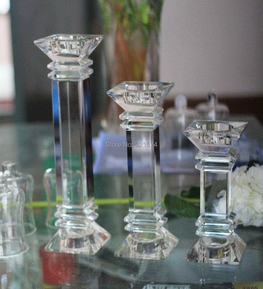 3pcs/Set Crystal Candle holder Set Long Stem Candle Holder ...