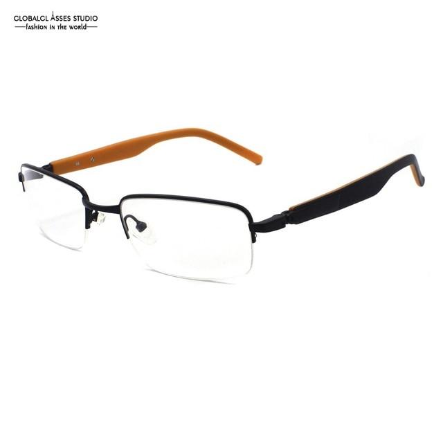 3d1579f7ee Colorful Half Rim Metal Eyeglasses Women Black Slim Frame Black on Orange  Acetate Temple Optical Glasses