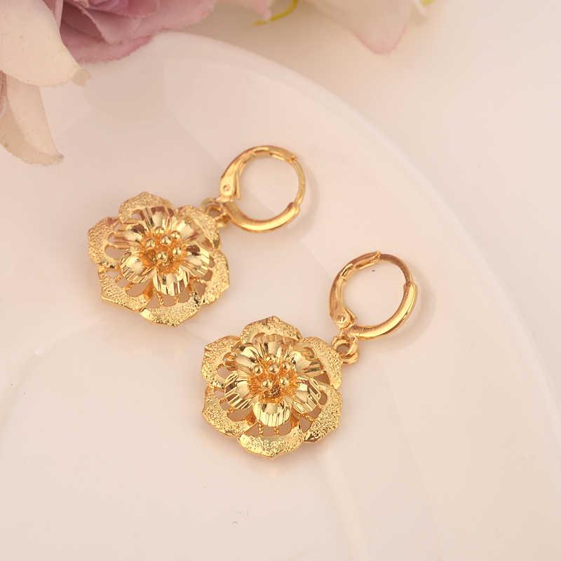 Pendiente de gota de flor caliente etíope/Nigeria/Kenia/Ghana color dorado dubaiárabe africano árabe Medio Oriente joyería mamá regalos