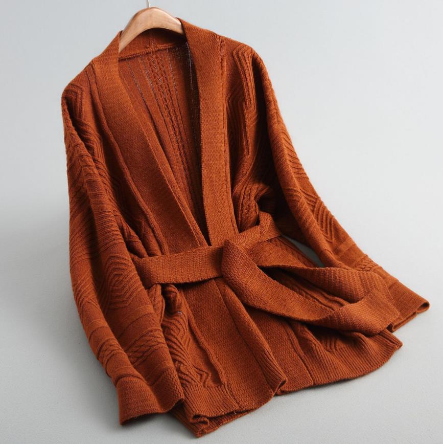 Tricot cardigan femmes mode chaud hiver surdimensionné pull col en v ceinturé lâche manteau