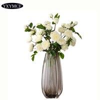 Translucent Glass Flower Vase Nordic Decoration Home Tabletop Glass Jars Artificial Flower Pot High Quality Wedding Gift Vases