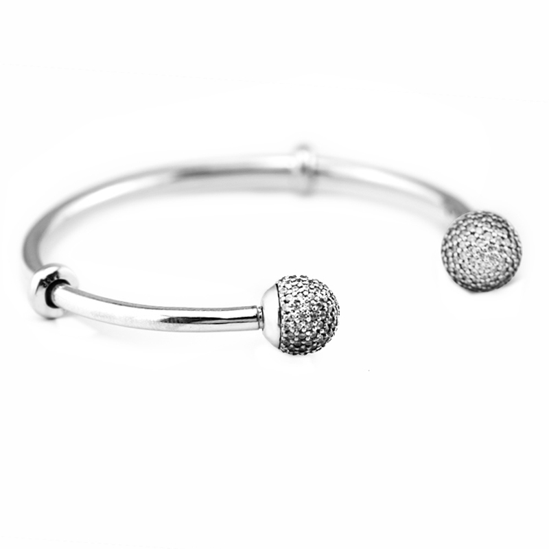 925 Sterling Silver Sparkled Open Bangle For Women Original Fashion Jewelry Fits For Beads & Charms PANDOCCI