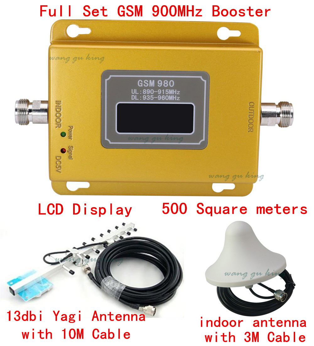 Full Set 13dbi Yagi+LCD Display! Mobile Phone GSM 900 900mhz Signal Boosters,cell Phone GSM Signal Repeater Gsm Signal Amplifier
