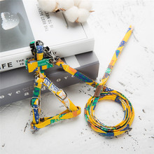 Fashion forest  Pet Dog Collar Harness Leash Set Cotton Rope Leads Puppy Walking Dogs Supplies
