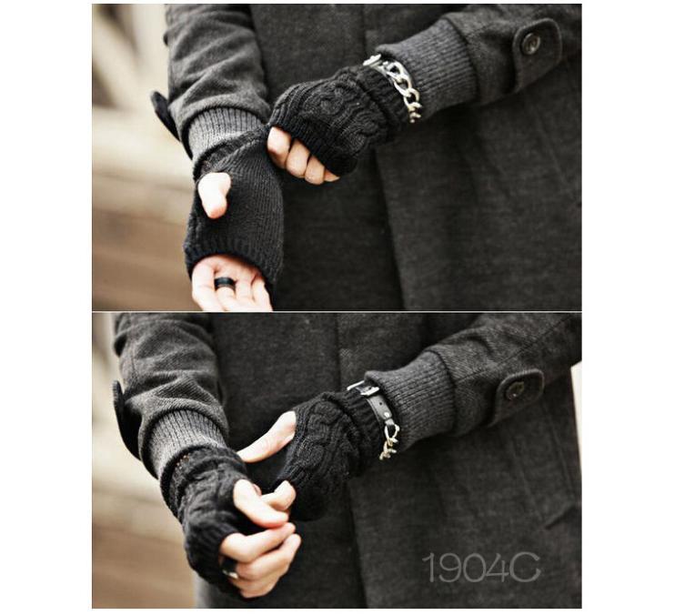 2014 nuevos hombres moda tejer guantes de invierno cálido sin dedos ...