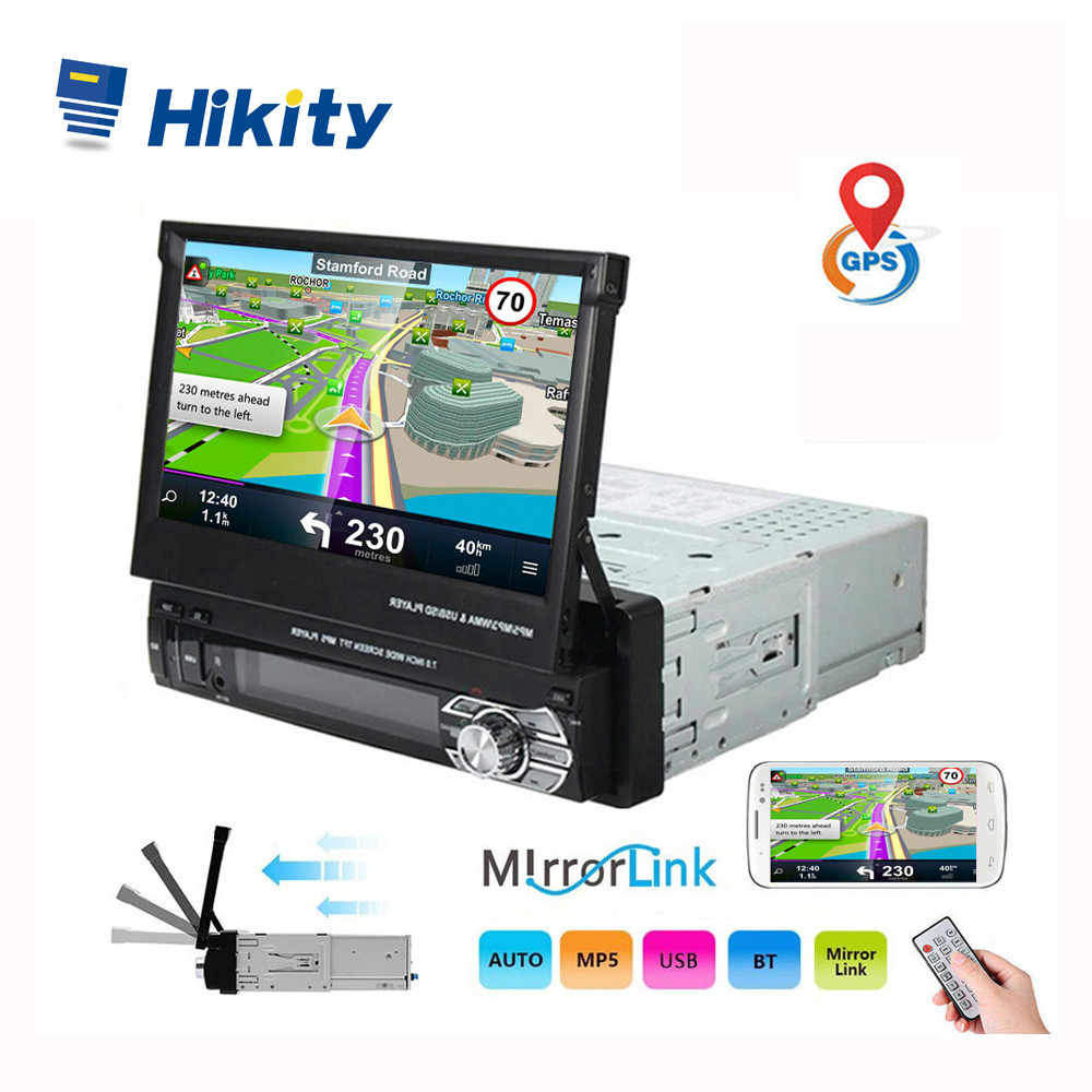 Hikity 1 din Car Radio Retractable GPS Navigation Autoradio Video Player Bluetooth 7 Inch Touch Screen Car MP5 Stereo Audio