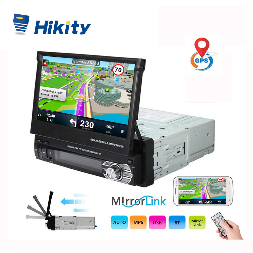 Hikity 1 din <font><b>Car</b></font> Radio Retractable GPS Navigation Autoradio <font><b>Video</b></font> Player Bluetooth 7 Inch Touch Screen <font><b>Car</b></font> MP5 Stereo <font><b>Audio</b></font> image