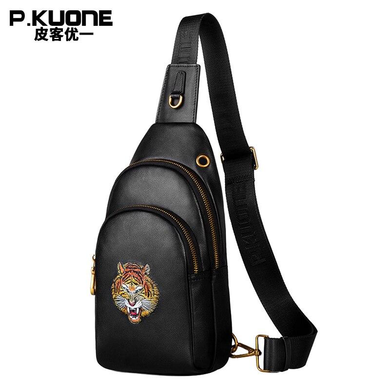 P.KUONE New Desing Northeast Tiger White Tiger Chest Bag Business Man Brand Fashion Male Shoulder Bag Travel Genuine Leather Bag fashion desing коробка сердце 80036076