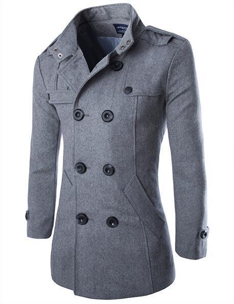 Doble Hombres Con Corte Tamaño men Prendas Plus Invierno Chaqueta Calientes Larga Hombre gray Coat Breasted Slim Lana Coat Los Woolen De Bolsillo Coat Black Abrigo 6wppxYPEq