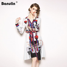 Banulin 2019 High Quality Runway Summer Womens Long Sleeve Elegant Fashion Bow Print Flower Slim Dresses Luxury Dress for Women