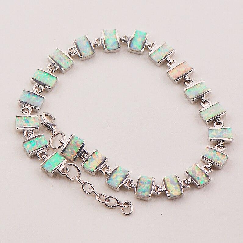 White Fire Opal 925 Sterling Silver Bracelet P87 8