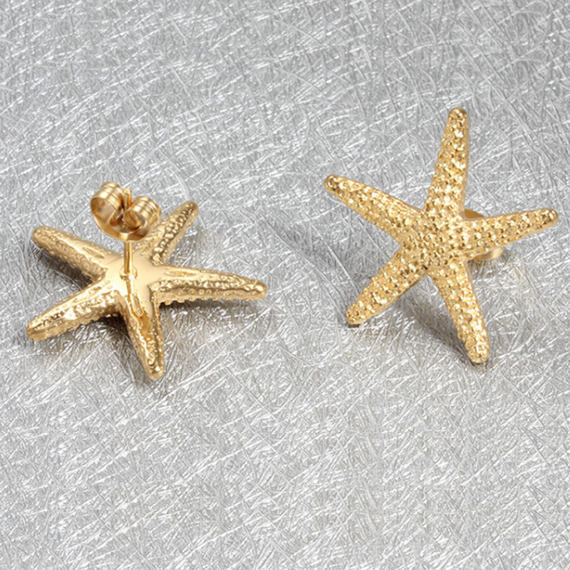 Elegant Gold Color Starfish Post Earrings Lovely Ocean Sea Star For Women Personalized Dainty In Drop From Jewelry