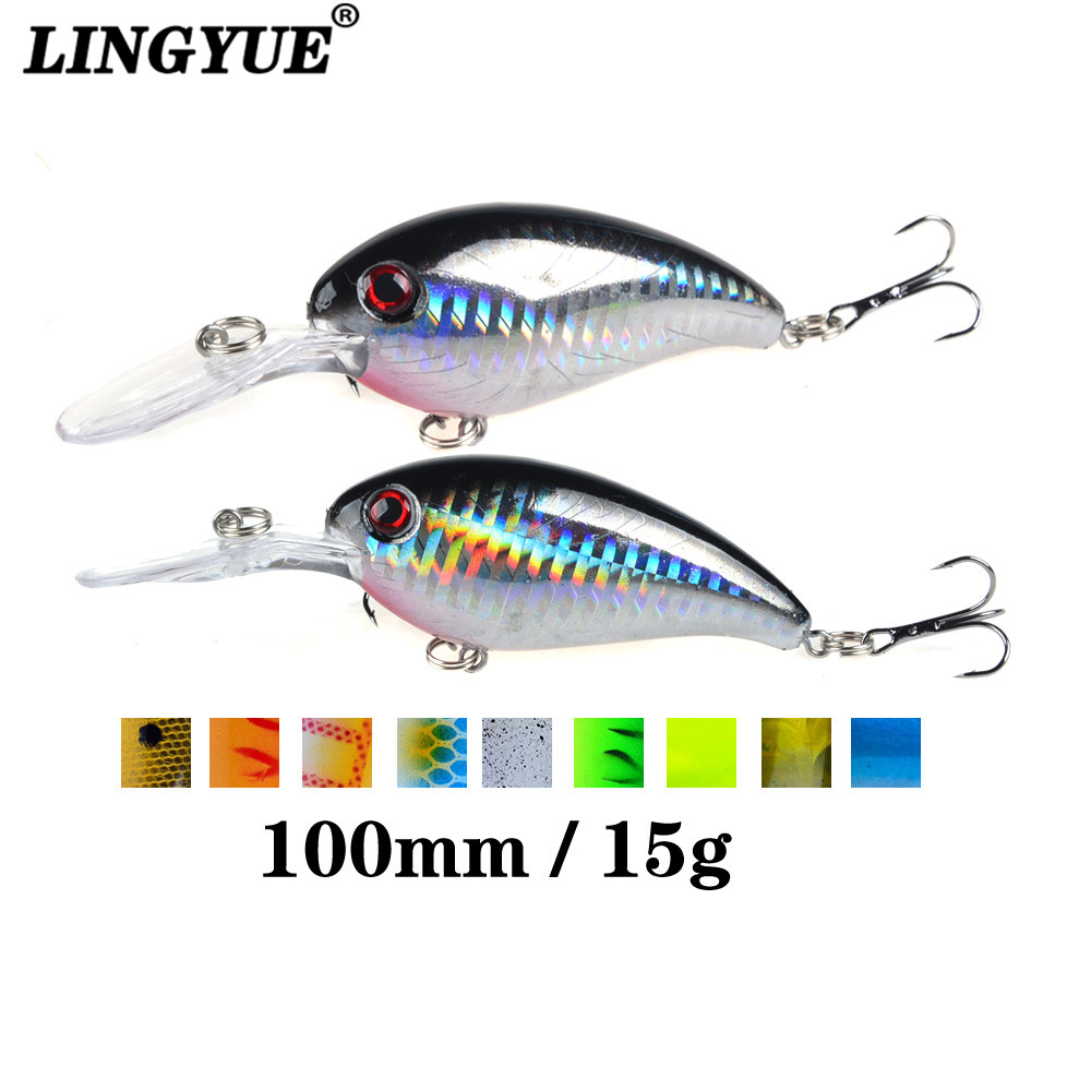 1pcs Crank Fishing Lure Artificial Hard Baits 10cm/15g Crankbait Jerkbait Wobbler Fishing Tackle Good Treble Hooks Tackle(China)