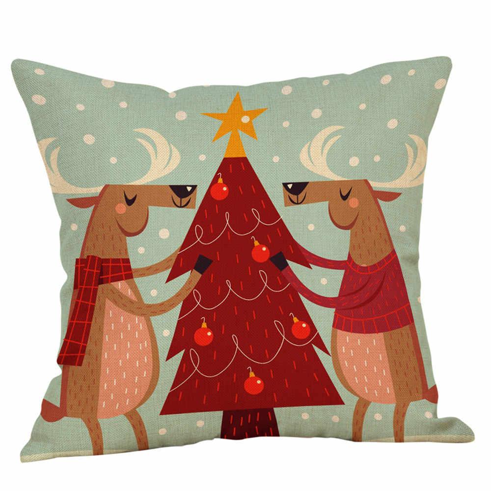 Mutlu noel yastık kılıfı sevimli festivali yastık kılıfı keten araba kanepe minder örtüsü 45x45 Cm ev dekoratif dekor yastık örtüsü