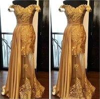 Блестящее Золотое вечернее платье с открытыми плечами длинное платье из тюля с аппликацией и бисером прозрачное арабское платье для выпуск