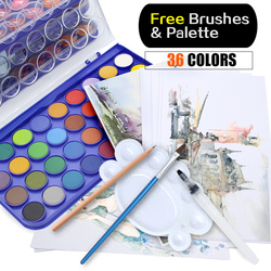 Memória 36 Cores conjuntos de Pintura Aquarela Água Profissional Paleta de Cores para A Pintura De Papel Materiais de Arte Com Escovas Livres