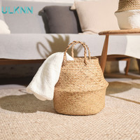 Nordic Seaweed Woven Storage Basket Brief Rattan Basket Handmade Decoration Binaural Folding Storage Hand Decorated Double
