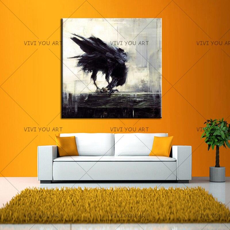 Umělec Ručně malované vysoce kvalitní moderní abstraktní černý pták vrána olejomalba na plátně Moderní havraní pták olejomalba pro výzdobu