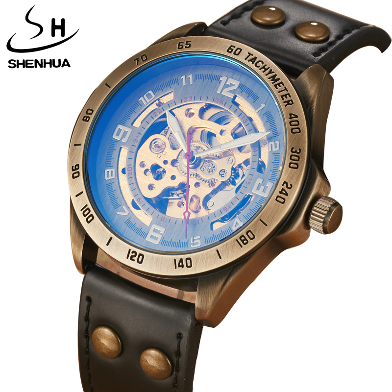 SHENHUA Top Brand Mens Mechanical Watches For Males Retro Automatic Skeleton Steampunk Leather Mechanical Watches Luxury Gifts luxury brand shenhua steampunk transparent skeleton crystal flywheel automatic genuine leather strap dress mens mechanical watch