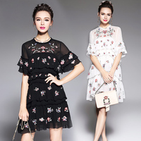 RYTISLO 2017 Women Vintage Half Sleeve Flower Embroidery Black White Dress Elegant Vestidos Fashion Butterfly Sleeve