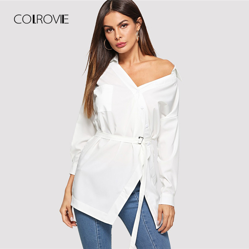 COLROVIE Solid Button Belted White Blouse Shirt Wom