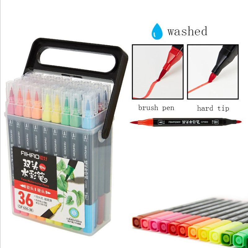 Colorful Pens Dual Tip Brush Marker Pen Watercolor Washed Art Markers For Coloring Drawing Painting Calligraphy