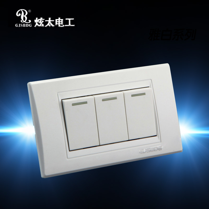GJSBDG Luxury Wall Switch, 3 Gang 2 Way Panel Light Switch, Touch ...