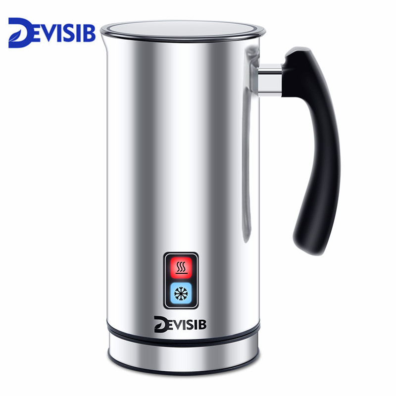 DEVISIB Automatic Milk Frother Stainless Steel Milk Steamer Electric Cappuccinator Hot Cold Coffee CE 1 Year
