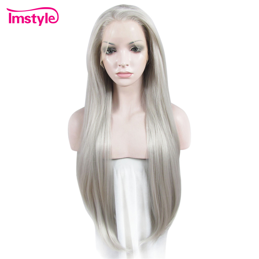 Imstyle Long Straight Grey Wigs Lace Front Wigs For Women Glueless Heat Resistant Fiber Synthetic Lace Wig Natural Hair Cosplay