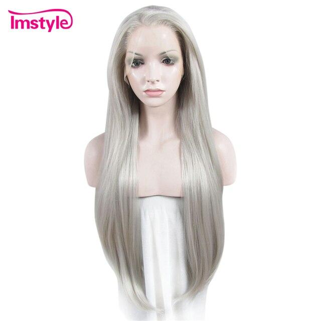 Perruques longues droites grises Imstyle