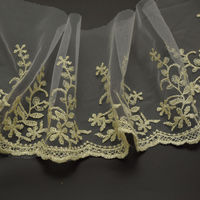 29yards Gold Bridal net Lace Trimming Embroidered Trim Ribbon Wedding Edging 4.7