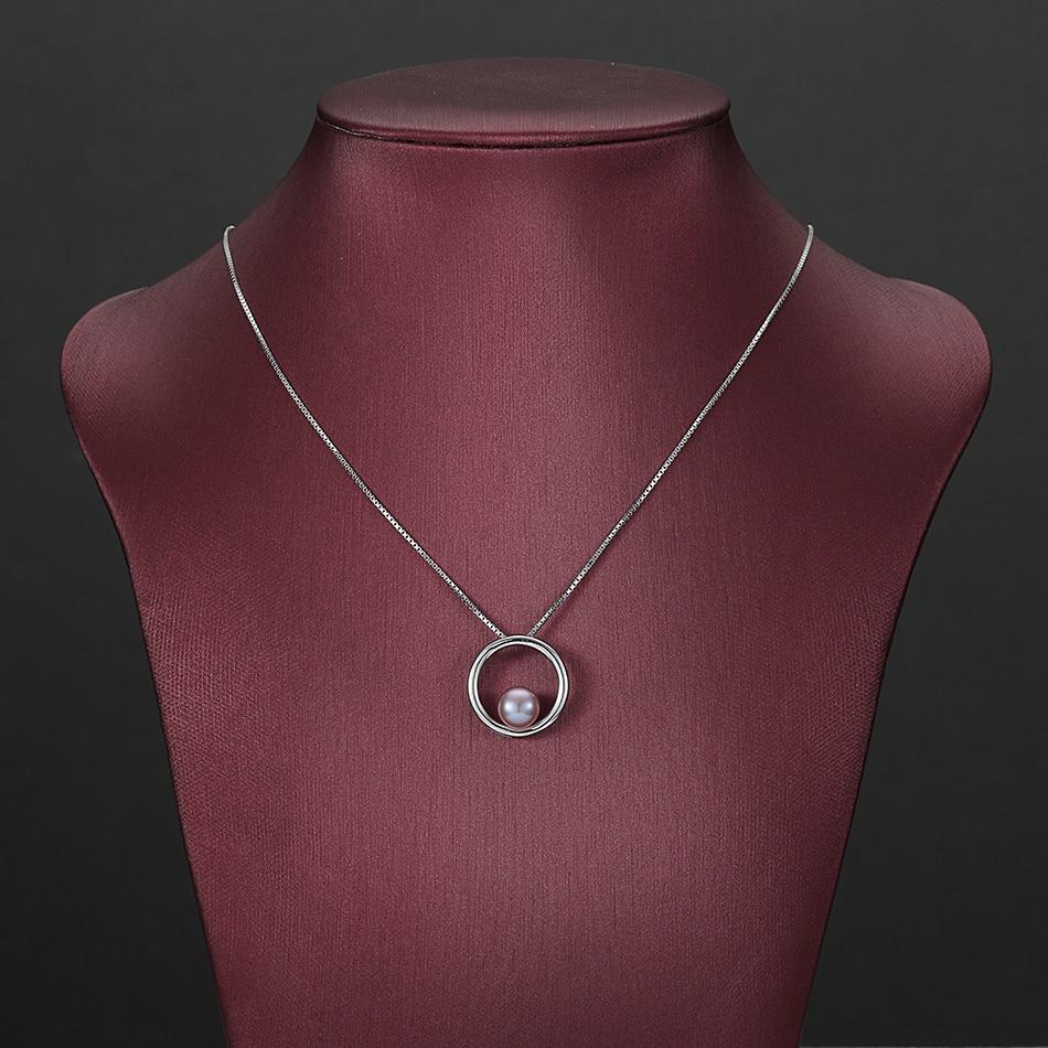 Klassische Einfache Lila Perle Anhänger Halsketten für Dame - Edlen Schmuck - Foto 4