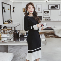 2018 Women Autumn Winter fashion Sweater Knitted Dresses Slim Elastic O neck Long Sleeve Sexy Lady Bodycon Robe Dresses Vestidos