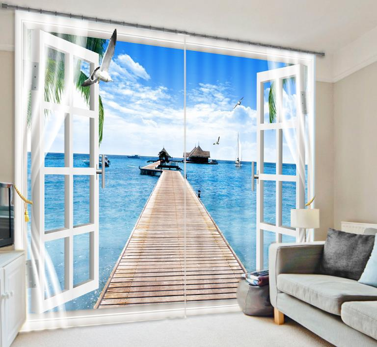 Fantasy Sea Sky 3D Photo Printing Blackout Window Curtains For Living room Bedding room  Hotel/Office Drapes Cortinas paraFantasy Sea Sky 3D Photo Printing Blackout Window Curtains For Living room Bedding room  Hotel/Office Drapes Cortinas para