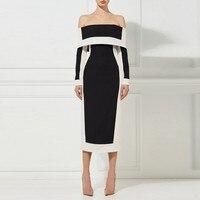 2018 Euramerican Spring New Fashion Black And White Slash Neck Sexy Elegant Lady Slim Fit Medium Style High End Formal Dress