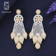 Siscathy 2019 New Fashion Jewelry Flower Drop Earrings AAA Cubic Zirconia Drop Dangle Earrings For Women Bridal Engagement Wear