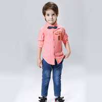 British Style Toddler Boys Clothing Set 2016 Autumn Winter Blouse Shirt Jeans High Quality Boutique Kids