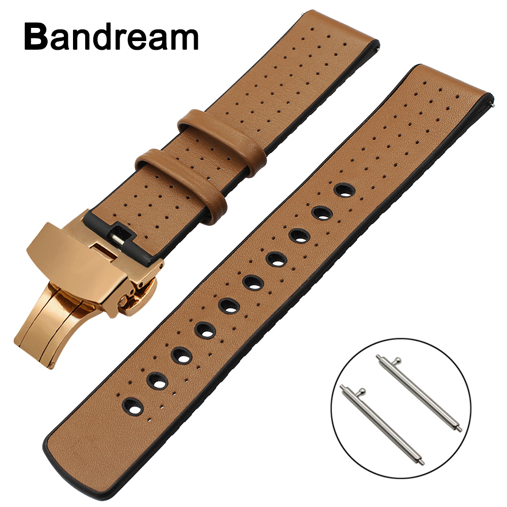 22mm Genuine Leather+Silicone Rubber Watchband for Tissot Mido Luminox Hamilton Maurice Lacroix Watch Band Butterfly Clasp Strap maurice lacroix el1094 pvp06 150 1