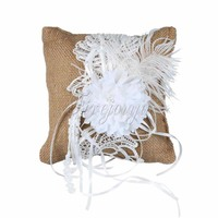 20CM Retro Wedding Ring Pillow Cushion Holder Burlap Fabric With Flower Feathers Lace for Party Decor Wedding Accessories