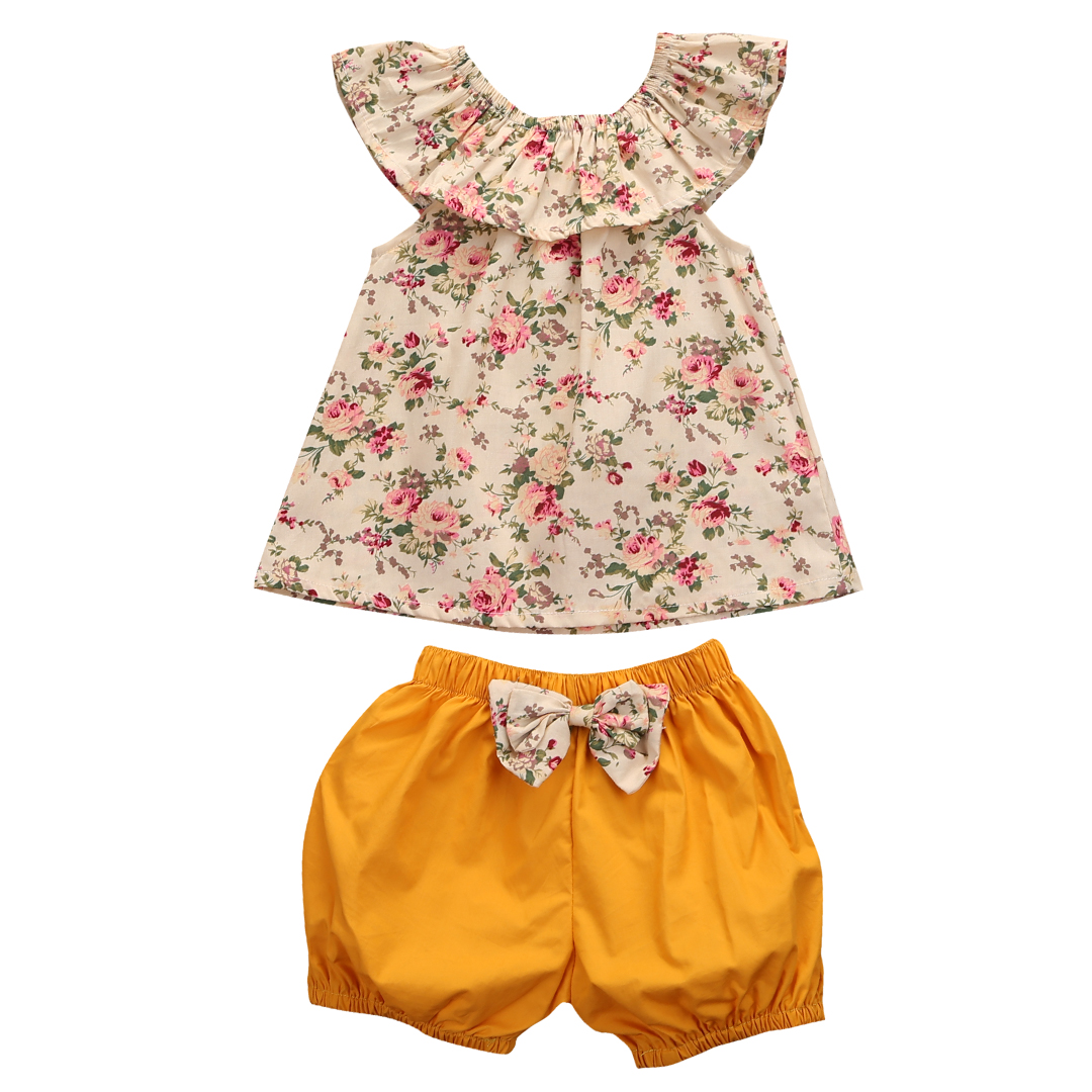 Babies Girl Summer Floral  Ckothing Set Cute Kids Baby Girls Clothes Sets Flower T Shirt Tops+Shorts 2pcs Outfits 0 24m floral baby girl clothes set 2017 summer sleeveless ruffles crop tops baby bloomers shorts 2pcs outfits children sunsuit