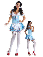 Extremely Lovely Hot Sale Sexy Halloween costumes dress 3S1421 Free Shipping Sexy Dorothy Kansas Cutie costumes
