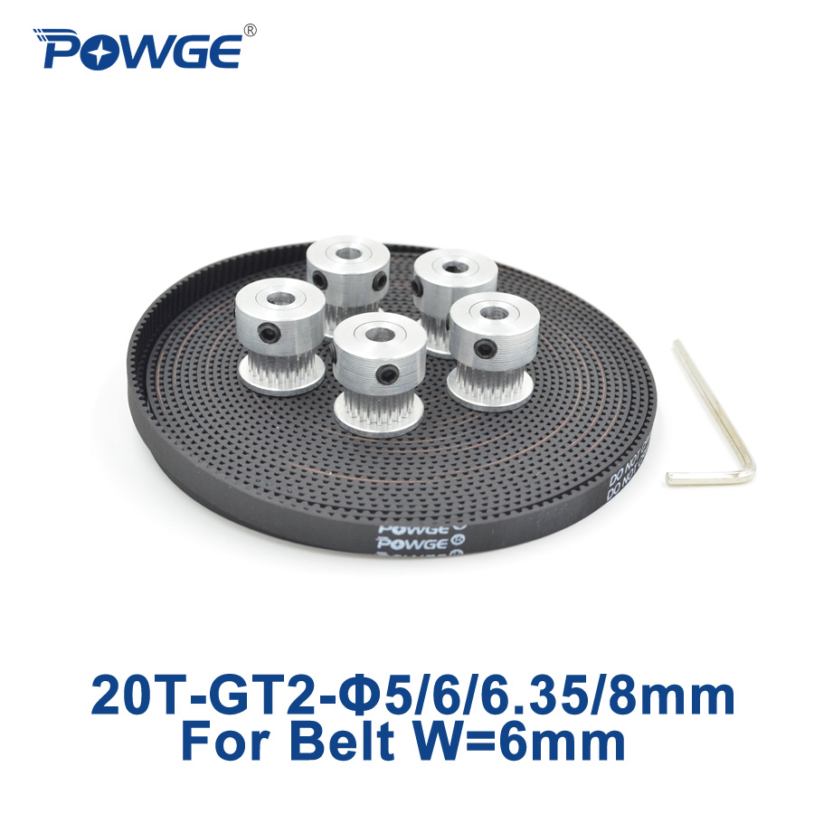 POWGE 5Meters GT2 timing Belt width 6mm +5pcs 20 teeth GT2 Timing Pulley Bore 5mm 6mm 6.35mm 8mm 2GT belt pulley 2GT 20Teeth 20T купить в Москве 2019