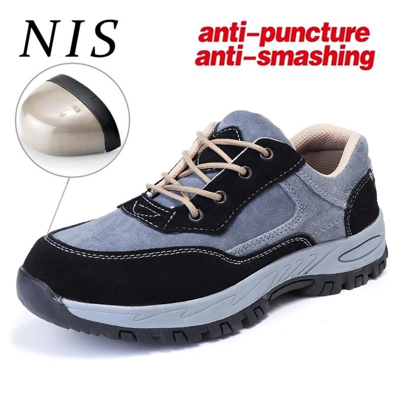 NIS большой размер анти-разбив труда мужские легкие кроссовки пуленепробиваемая рабочая обувь из искусственной замши Спортивные кроссовки ...