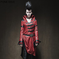 PUNK RAVE Women Gothic Dark Sexy Ladies PU Leather Corset Coat Patchwork Red Black Long Sleeve Stand collar Women Jacket