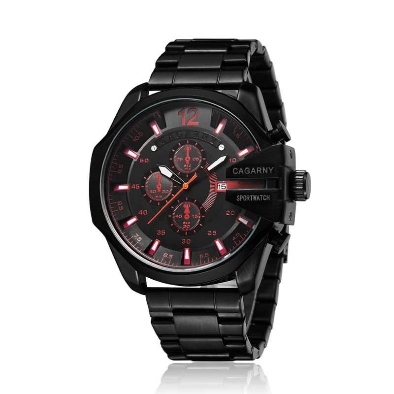 Watch Men Golden Stainless Steel Quartz Waterproof Military Mens Wrist Watches Top Luxury Brand Cagarny Casual Man Watch Clock